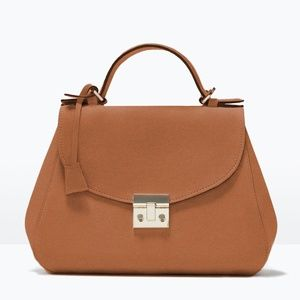 Zara Caramel Suede City Bag